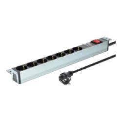 DIGITUS 1U Aluminium PDU, 16A Plug, 250VAC 50/60Hz, 7-fach