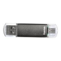 """HAMA FlashPen """"Laeta Twin"""", USB 2.0, 128GB, 10MB/s, Grau"""