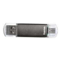 "HAMA FlashPen ""Laeta Twin"", USB 2.0, 128GB, 10MB/s, Grau"