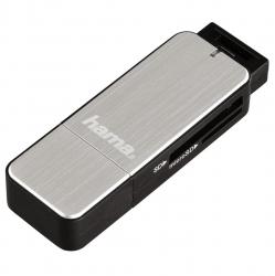 HAMA USB-3.0-Kartenleser, SD/microSD, Alu, Silber