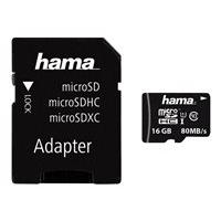 HAMA microSDHC 16GB Class 10 UHS-I 80MB/s + Adapter/Mobile