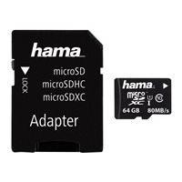 HAMA microSDXC 64GB Class 10 UHS-I 80MB/s + Adapter/Mobile