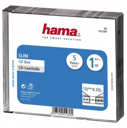 HAMA CD-Leerhülle Slim, 5er-Pack, Transparent/Schwarz
