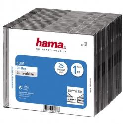 HAMA CD-Leerhülle Slim, 25er-Pack, Transparent/Schwarz