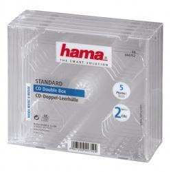 HAMA CD-Doppel-Leerhülle Standard,5er-Pack,Transparent