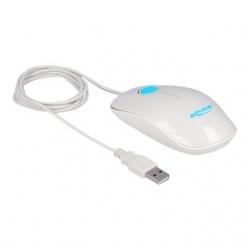 Delock Optische 3-Tasten LEDmaus USB Typ-A weiß