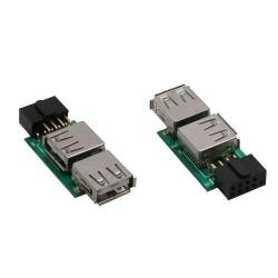 InLine USB 2.0 Adapter, 2x Buchse A auf Pfostenanschluss