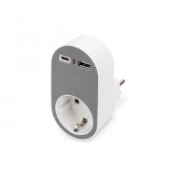 DIGITUS Universal Steckdosenadapter mit 1x USB-CT, 1x USB-A