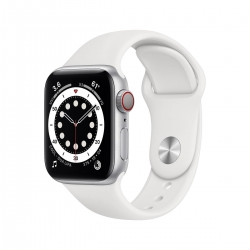 Apple Watch S6 Alu 44mm Cellular Silber weiß